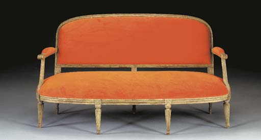 A LOUIS XVI GREEN-PAINTED CANA