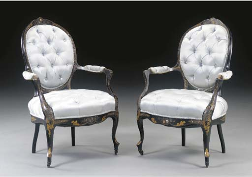 A PAIR OF VICTORIAN MOTHER-OF-PEARL INLAID, GILT AND BLACK JAPANNED OPEN ARMCHAIRS,