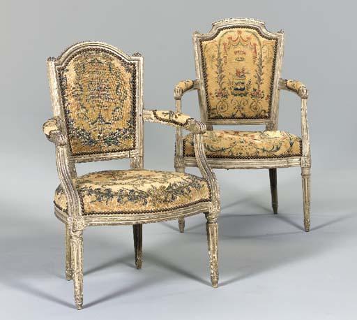 TWO LOUIS XVI GRAY-PAINTED FAU