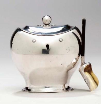 A DUTCH SILVER TEA CADDY AND T