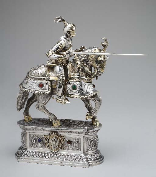 A GERMAN SILVER KNIGHT ON HORS