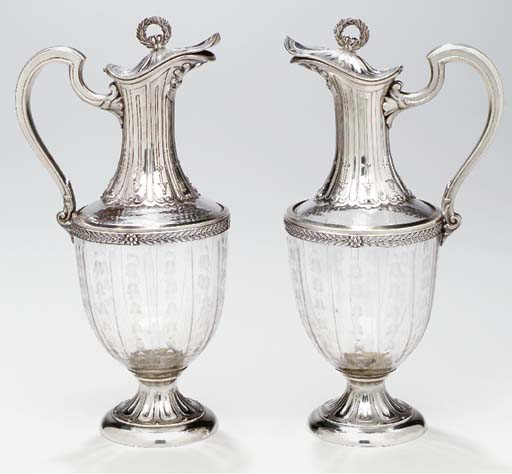 A PAIR OF FRENCH SILVER-MOUNTE