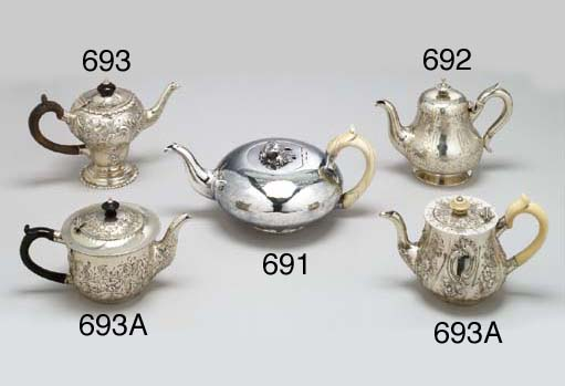 TWO VICTORIAN SILVER TEAPOTS A