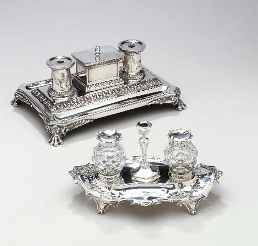 TWO VICTORIAN SILVER INKSTANDS