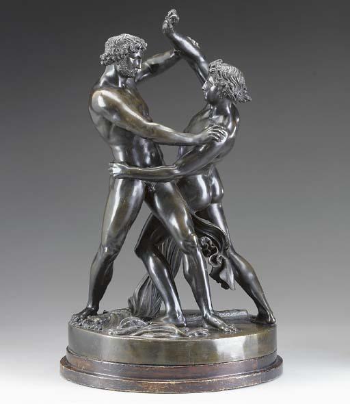 A Victorian bronze figure grou