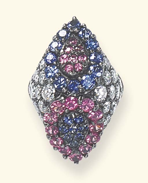 A DIAMOND, PINK SAPPHIRE AND S