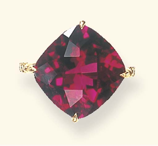 A RUBELLITE TOURMALINE AND COL