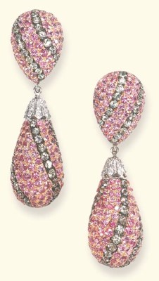 A PAIR OF DIAMOND, PINK AND GR