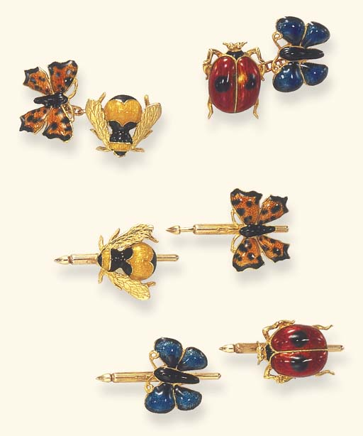 AN ENAMEL AND GOLD INSECT DRES