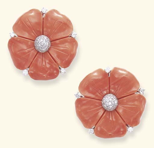 A PAIR OF CORAL AND DIAMOND CLIPS