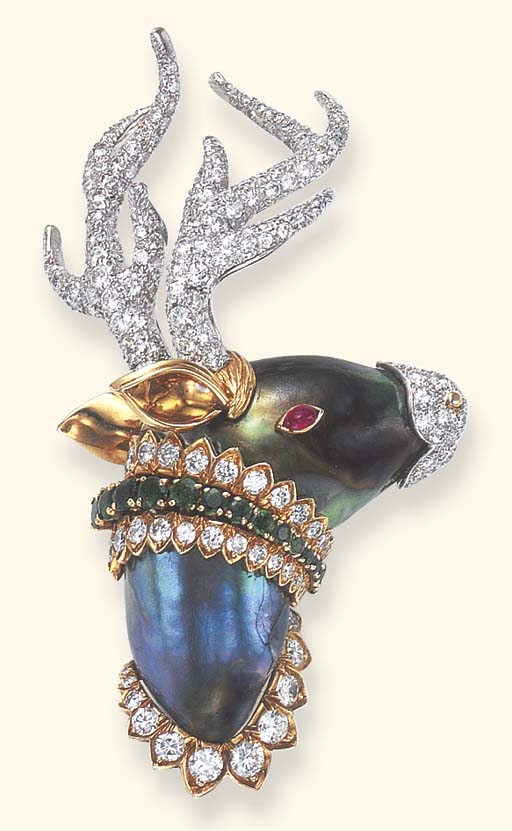 AN ABALONE PEARL, DIAMOND AND