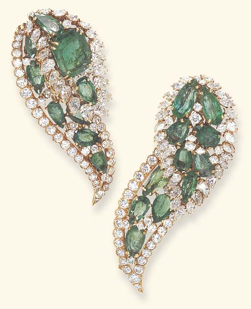 AN ELEGANT PAIR OF EMERALD AND