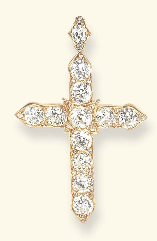 AN ANTIQUE DIAMOND CROSS PENDA