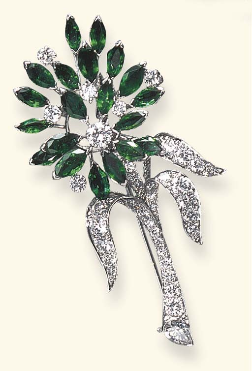 A DIAMOND AND EMERALD FLOWER B