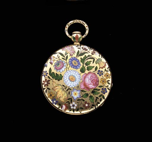 Swiss. An 18K gold and enamel