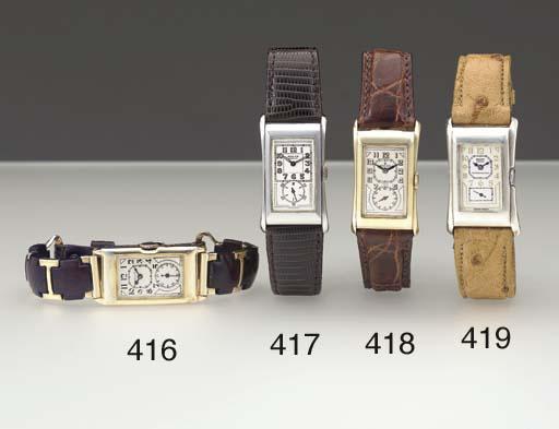 Rolex. A 14K gold curved recta