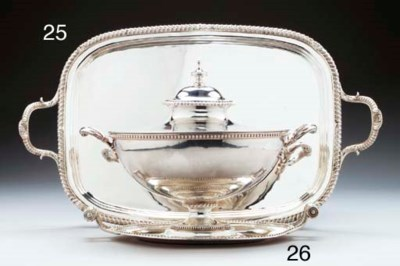 A SILVER COVERED SOUP TUREEN O