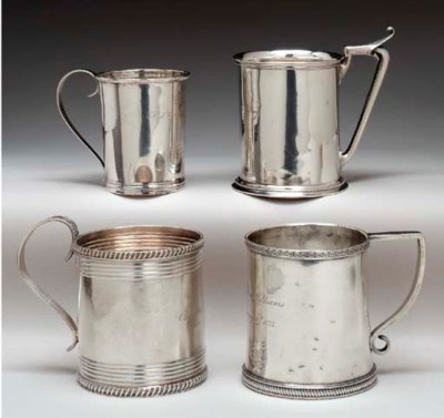 A COLLECTION OF SILVER MUGS