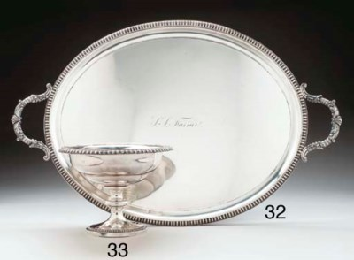 A SILVER TWO-HANDLE TRAY