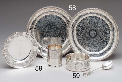 A PAIR OF SILVER CHILD'S PLATE