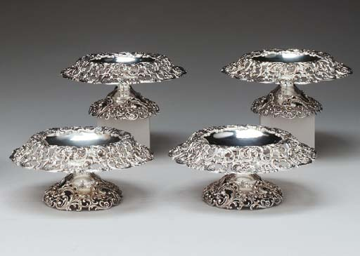 A SET OF FOUR SILVER COMPOTES