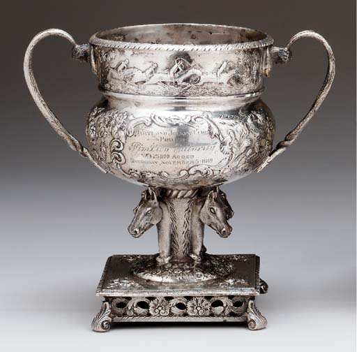 A SILVER HORSE RACING TROPHY