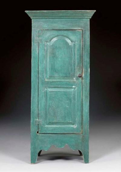 A BLUE-PAINTED PANELED DOOR CU