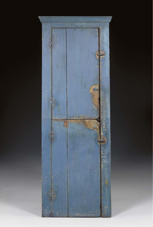 A BLUE-PAINTED SLANT BACK TWO DOOR CUPBOARD