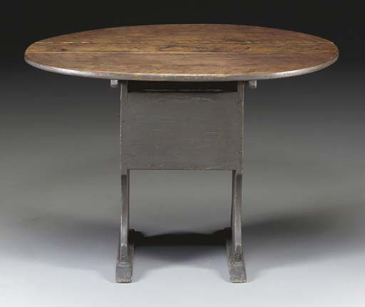 A GREY-PAINTED CHAIR TABLE