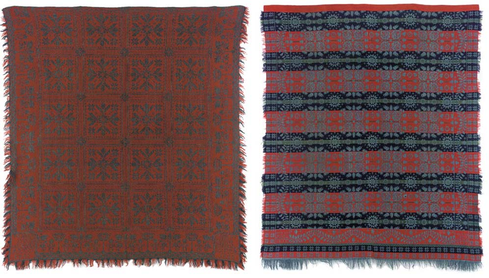 TWO WOVEN COTTON AND WOOL JACQUARD COVERLETS