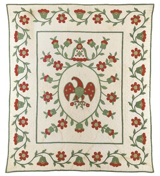 A PIECED AND APPLIQUED QUILTED