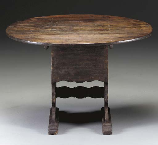 A BROWN-PAINTED CHAIR TABLE