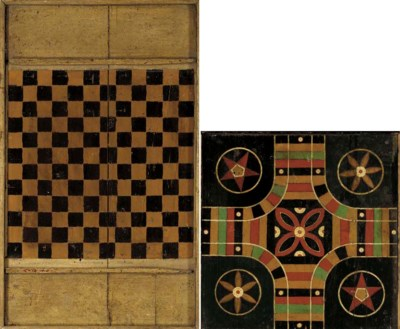 TWO PAINTED WOODEN GAMEBOARDS