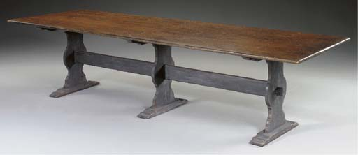 A BAROQUE STYLE PALE BLUE-PAINTED STRETCHER BASE HARVEST TABLE