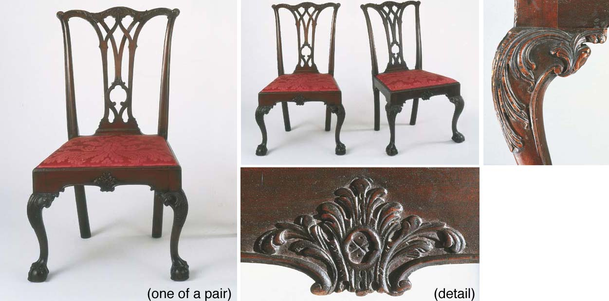 A PAIR OF CHIPPENDALE CARVED MAHOGANY SIDE CHAIRS