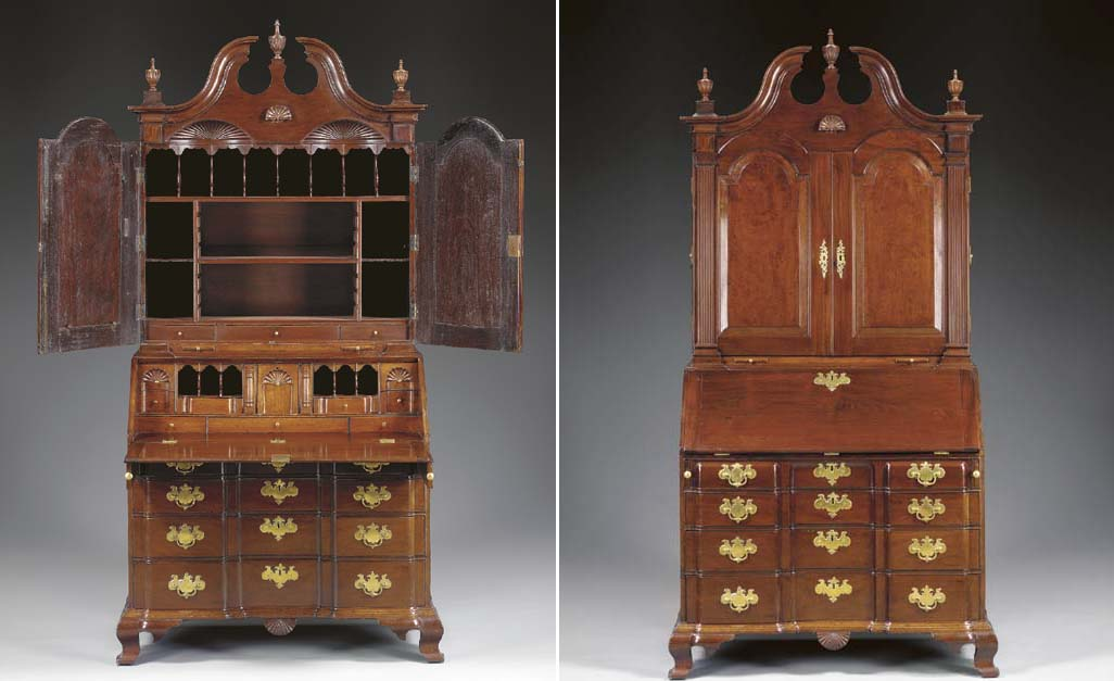 A CHIPPENDALE CARVED MAHOGANY BLOCK-FRONT AND BONNET-TOP DESK-AND-BOOKCASE