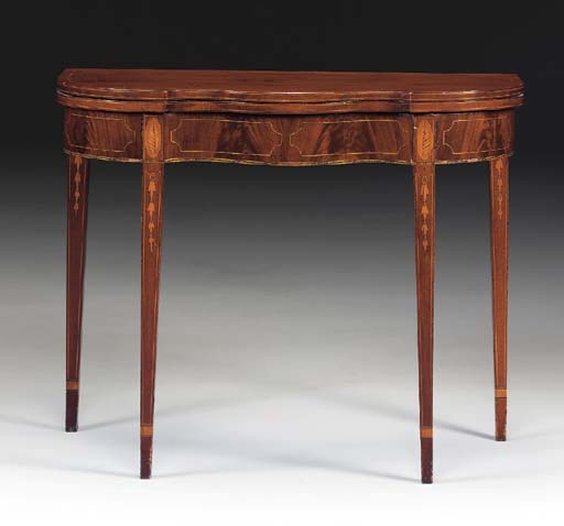 A FEDERAL STYLE INLAID MAHOGANY CARD TABLE