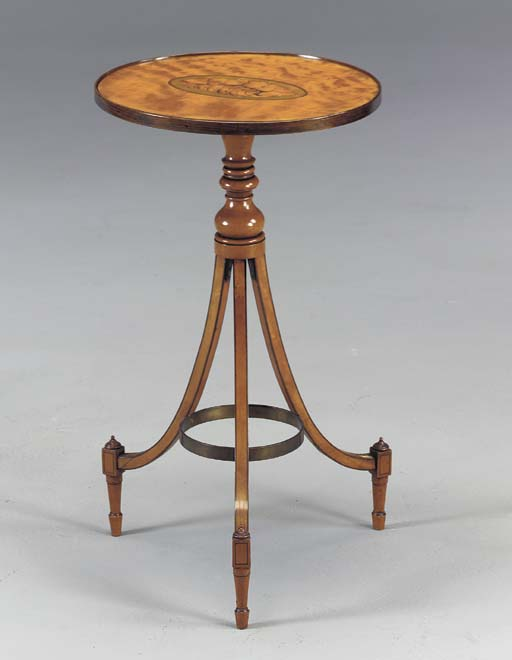 A GEORGE III SATINWOOD AND MARQUETRY OCCASIONAL TABLE