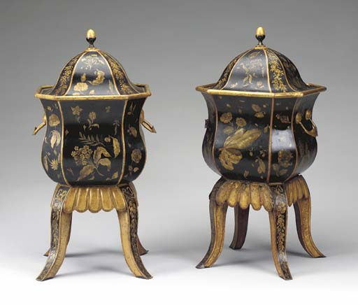 A PAIR OF BLACK, RED AND GILT-