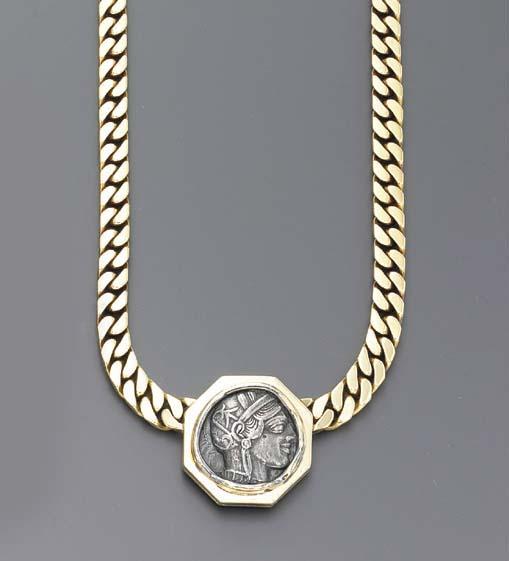 A GOLD AND COIN NECKLACE, BY B