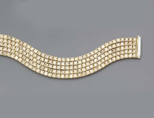 A FIVE-ROW COLORED DIAMOND BRA