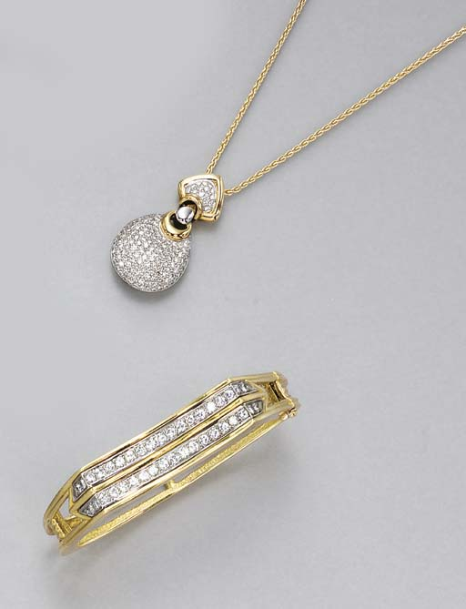 A GROUP OF DIAMOND AND GOLD JE