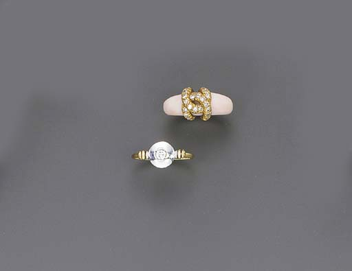 TWO DIAMOND AND GOLD RINGS, BY