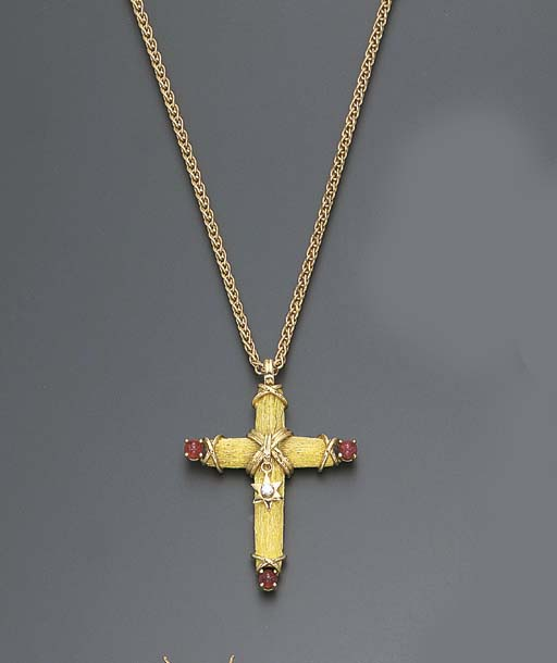 A RUBY, DIAMOND AND GOLD CROSS