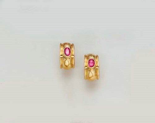 A PAIR OF GOLD AND PINK TOURMA