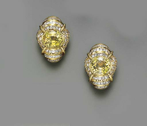 A PAIR OF YELLOW SPINEL, DIAMO