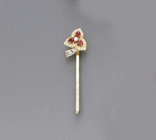 A RUBY AND DIAMOND HAIR PIN