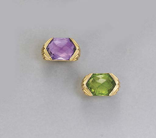 A PAIR OF GOLD, AMETHYST AND P
