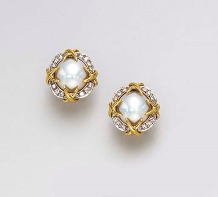 A PAIR OF MABE PEARL AND DIAMO