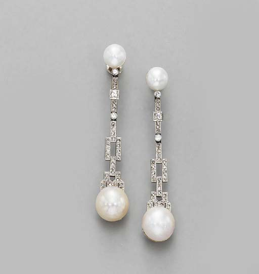 A PAIR OF DIAMOND AND MABE PEA